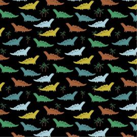Katoen Poplin | Dino - Black
