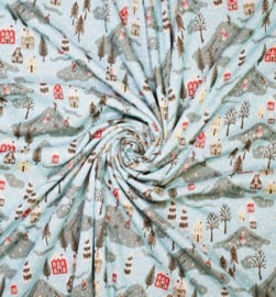 Jaquard knitted Jersey   Recycled Fabric - Snowman