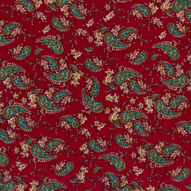 Viscose | Paisley Print - Dark Red