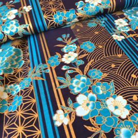 Japanese Floral Print | Blue Kikus and golden Tsurus on navy blue - Cotton