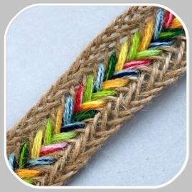 gevlochten band multi/ 3 cm breed