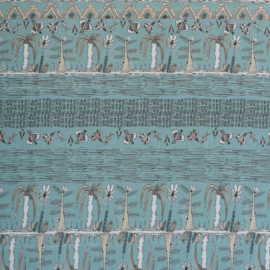 voile katoen | trees and birds - mint green | mona | Swafing