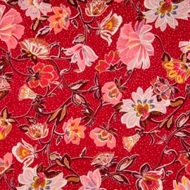 Katoen Print | Poplin - Oriental Flowers - Red