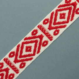 Band Jaquard | Rhombus & dots | White  - Red | 4 cm breed