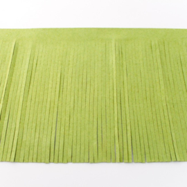Suedine franjeband | Limegroen 30391 | 12 cm breed