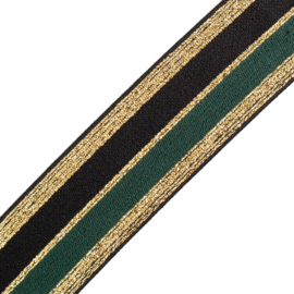 Elastiek  Streep | 4 cm breed | Black base - Green  - Gold Lurex