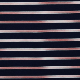 Tricot Streep   Navy  - Red