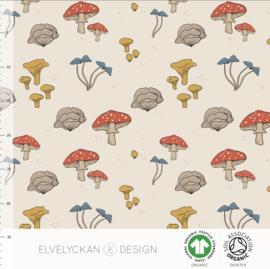 Elvelyckan design | tricot | Mushrooms - Ecru  | Organic
