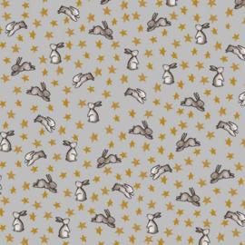 Katoen Flannel | Sweet Bunny | Grey