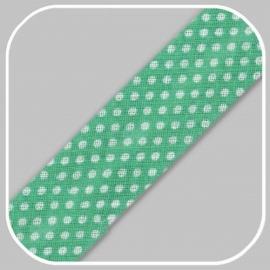mintgroen met polka dot -20mm/ per meter