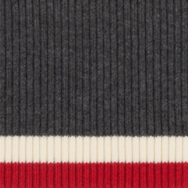 Tricot boord   Grijs - Creme -  Rood