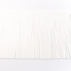 Suedine franjeband   Wit 28001   12cm breed