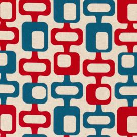 Decostof | Linnenlook  | Abstract - Red - Blue
