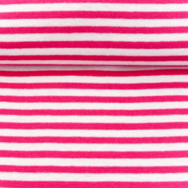 tricot boordstof streep | wit - fuchsia