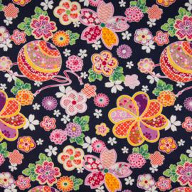 Katoen Poplin Print | Flowers  | Pink - Orange - Black