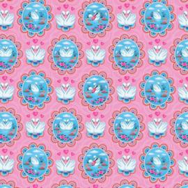 Tricot Print   Swans   Fiona Hewitt - Pink