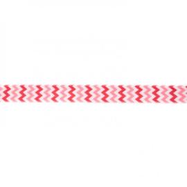 41246 elastisch biaisband zigzag roze-rood 15mm