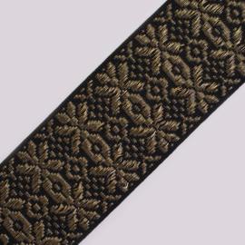 Band Jaquard | Fantasy | black - gold/silver lurex | 5 cm breed