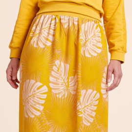 About Blue Fabrics   Crepe Viscose   Let's Get Lost  - Crazy plant  - Ochre