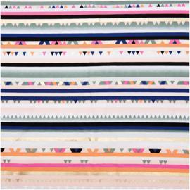 Katoen print met hot foil   streep   Rico -  design