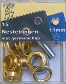 nestelringen | goudkleurig |   4/ 8/ 11/ 14 mm  v.a.