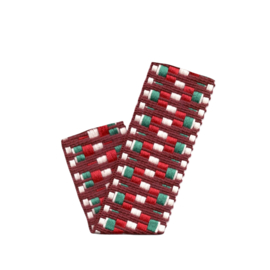 Band Jaquard | woven Aztec | Bordeaux - Ecru - Green - Red  | 4 cm breed