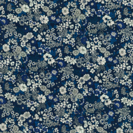 Kokka |  Retro Collection | Lawn |  Flowers -  Navy