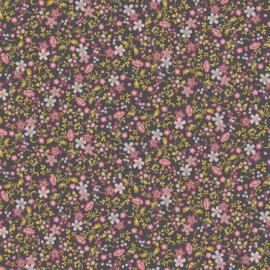viscose print | flower pink - gray