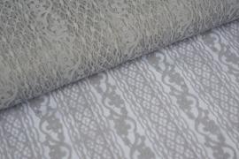 5342-10 kant niet rekbaar grijs   bloemmotief