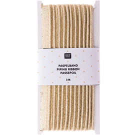 Paspelband katoen | Goud  | 3 meter | Rico - design