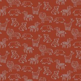 Soft Sweat GOTS | Happy Animals - Rust