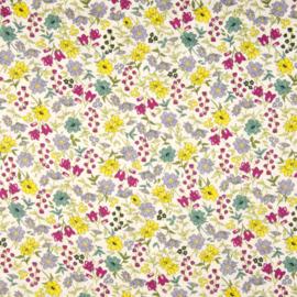 Katoen Print | Flowers | Yellow - Pink - Mint 032