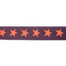 Elastiek | 4cm breed | Bruin - Oranje