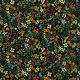 Kokka |  Retro Collection | Lawn |  Small Flowers -  Black