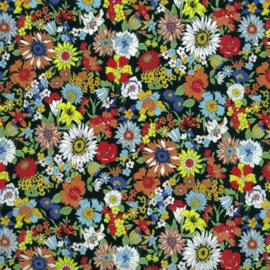 Kokka |  Retro Collection | Lawn |  Flowers -  Black   - Orange