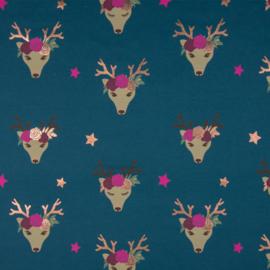 Tricot Print | Fancy Deer - Foil Print - Glitter - Blue