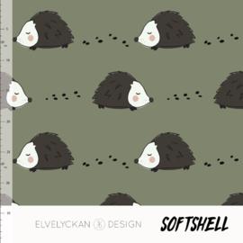 Elvelyckan design | Soft Shell  | Hedgehog - Green  | Oeko tex