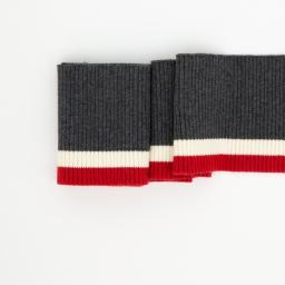 Tricot boord | Grijs - Creme -  Rood