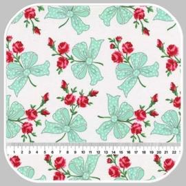 retro florals   CX6854- AQUA