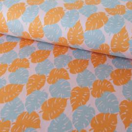 tricot - gebreid | Monstera Knit |  blauw - geel | by Cherry Picking | Swafing