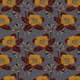Katoen Poplin Print |  Oriental Flower | Grey