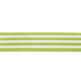 Elastiek Gestreept | 4 cm breed | Lime - Wit