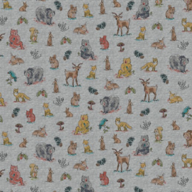 tricot print   bosdieren -  Grijs  melee