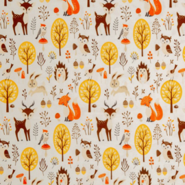 Tricot Print Swafing | Matti - Forest Animals - Ecru