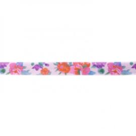41252 elastisch biaisband bloem lila 15mm