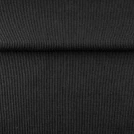 tricot boordstof uni ribbel | zwart
