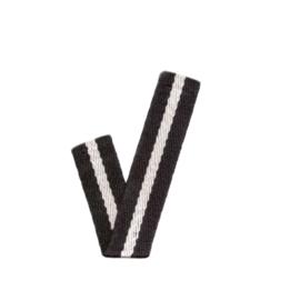 Band Streep | zwart - ecru - zwart | 2 cm breed