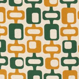 Decostof | Linnenlook  | Abstract - Ochre  - Green