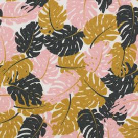 Katoen Print | Swafing - Veertjes   - Roze - Oker - Zwart