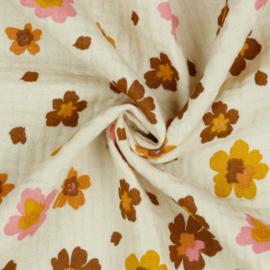 Double Gauze GOTS | Flowers - Ecru